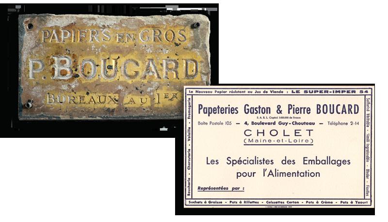 Plaque et carte historique de la création de boucard emballage en 1908