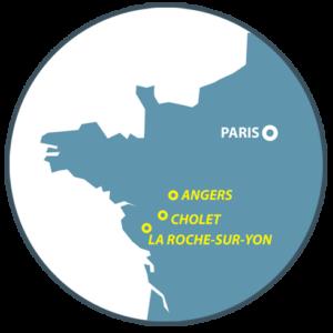 Zoom carte des sitse Boucard Emballages Anger, Cholet, la Roche-sur-Yon