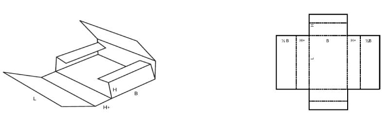 schéma pli boite carton plate