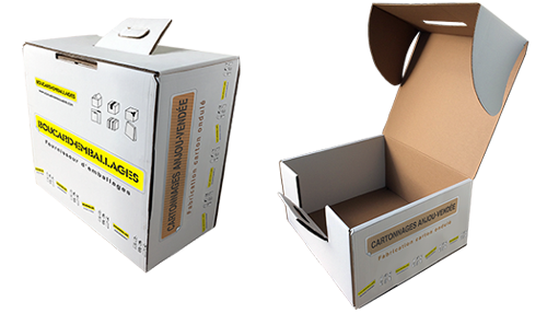 boites cartons avec couvercle attenant imprimées