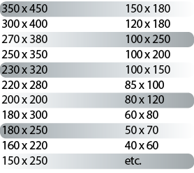 tableau des dimensions des sacs à glissière