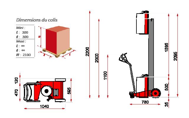 schema encombrement robot banderollage manuel