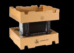 vue d'un produit technique emballé dans une boite à suspension