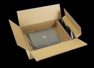 exemple de cale à rétention carton pour emballage d'un ordinateur portable