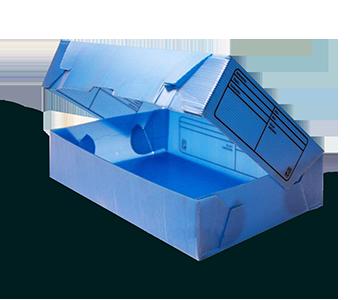 plaques polypropylene bleue transformée en boite
