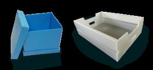 plaques polypropylene couleur transformées en boites de rangemet