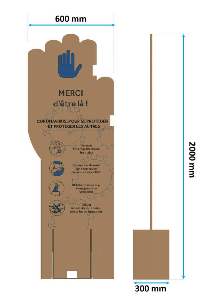 Dimensions des panneaux cartons séparateurs spécial Covid 600 x 2000