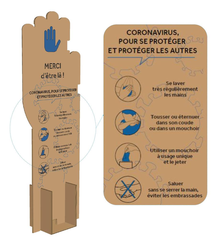 Séparateurs cartons auto-portés spécial covid-19
